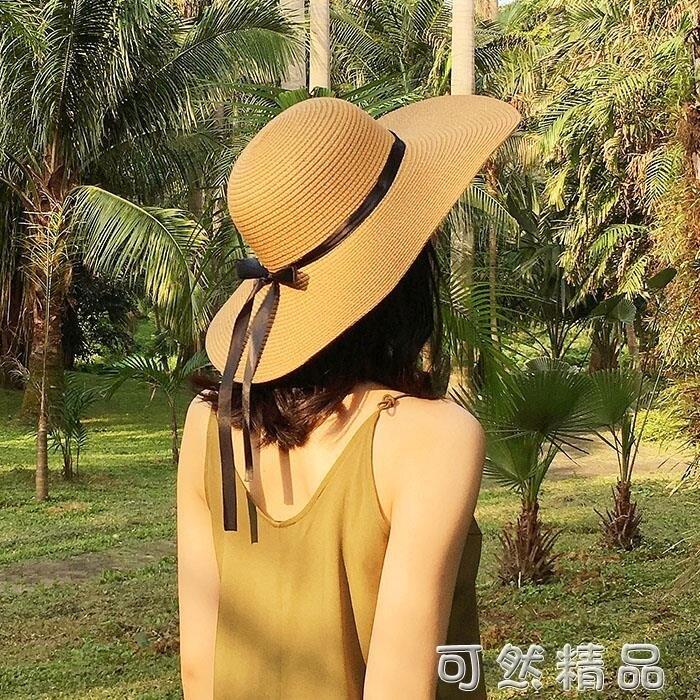 帽子女夏天沙灘帽海邊渡假帽 蝴蝶結飄帶遮陽帽女防曬草帽可摺疊