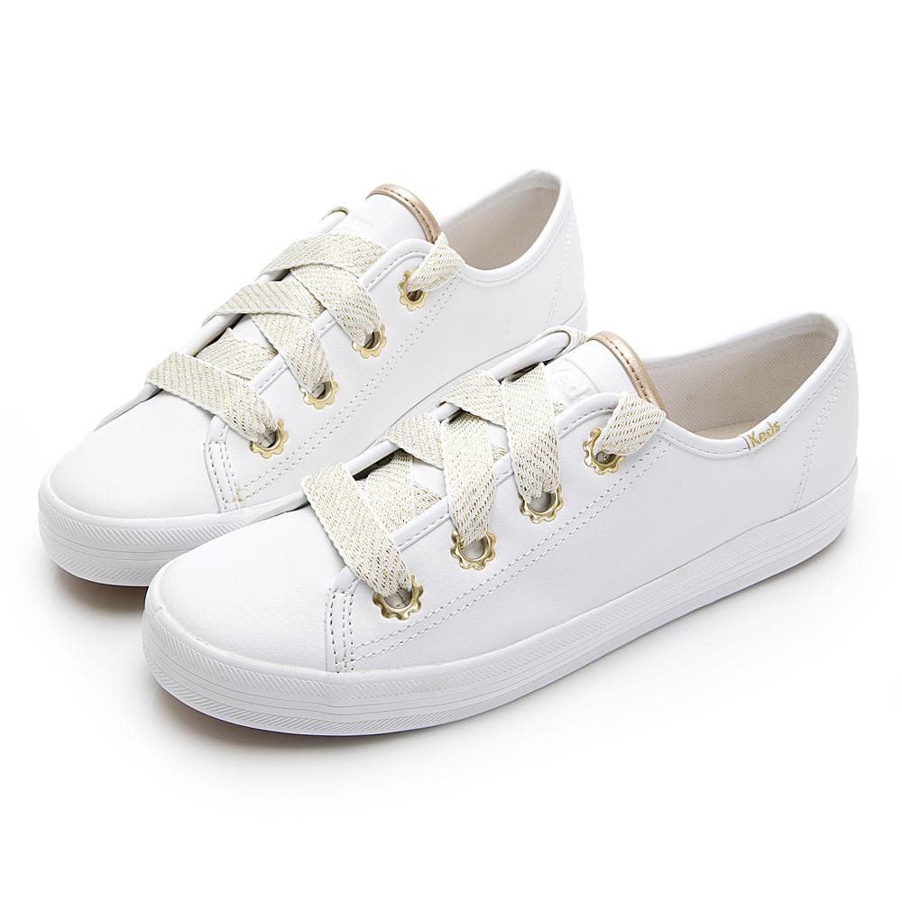 KICKSTART 雛菊金釦皮革休閒鞋-白