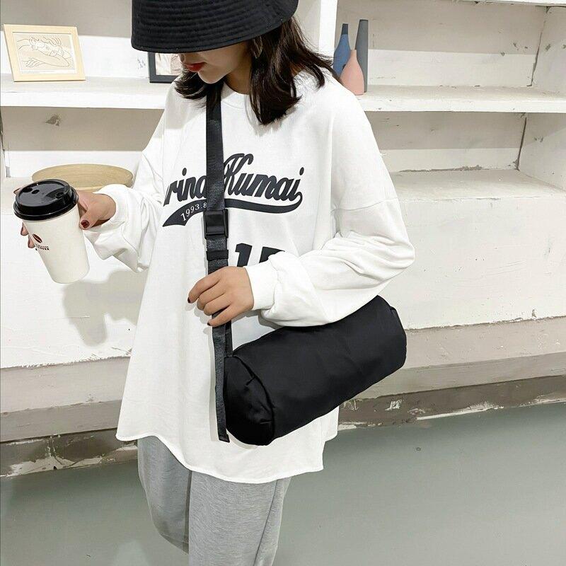 ins時尚韓版2020新款尼龍布包防水單肩斜挎男女港風懶圓桶潮小包