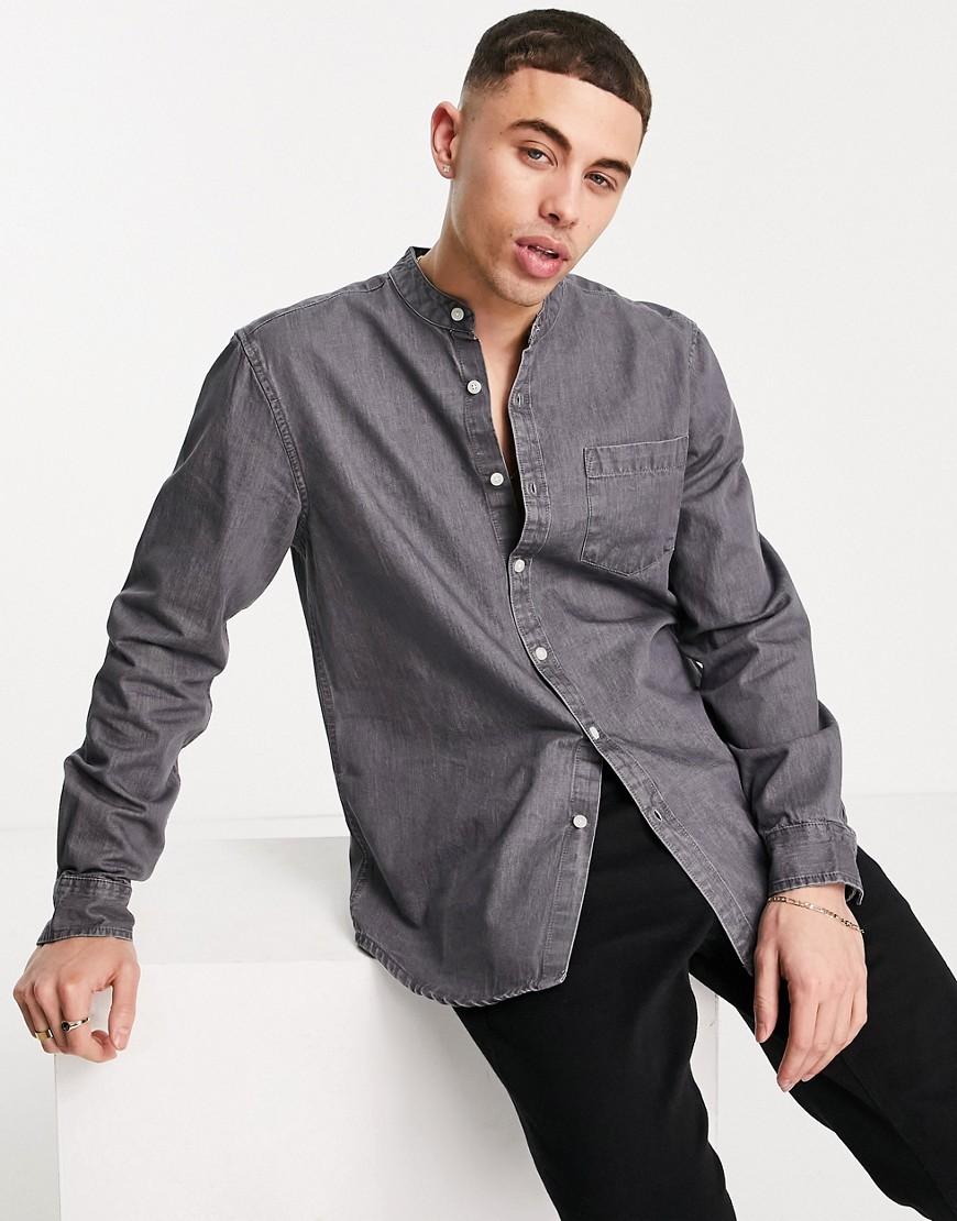 New Look denim shirt with grandad collar in mid grey