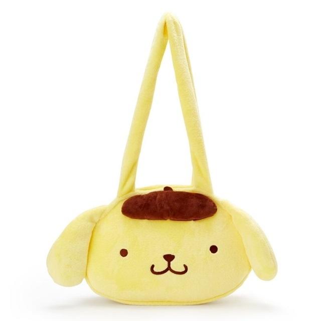 布丁狗 造型絨毛側背袋 大頭包 絨毛手提袋 側背包 (黃棕 )