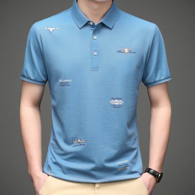 2021夏季新款男士印花Polo杉寬鬆短袖休閒T恤上衣男