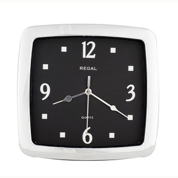 【JUSTIME 鐘情坊】8.5吋方形電鍍銀 廚房臥房家居小掛鐘(台製電鍍銀黑底白字