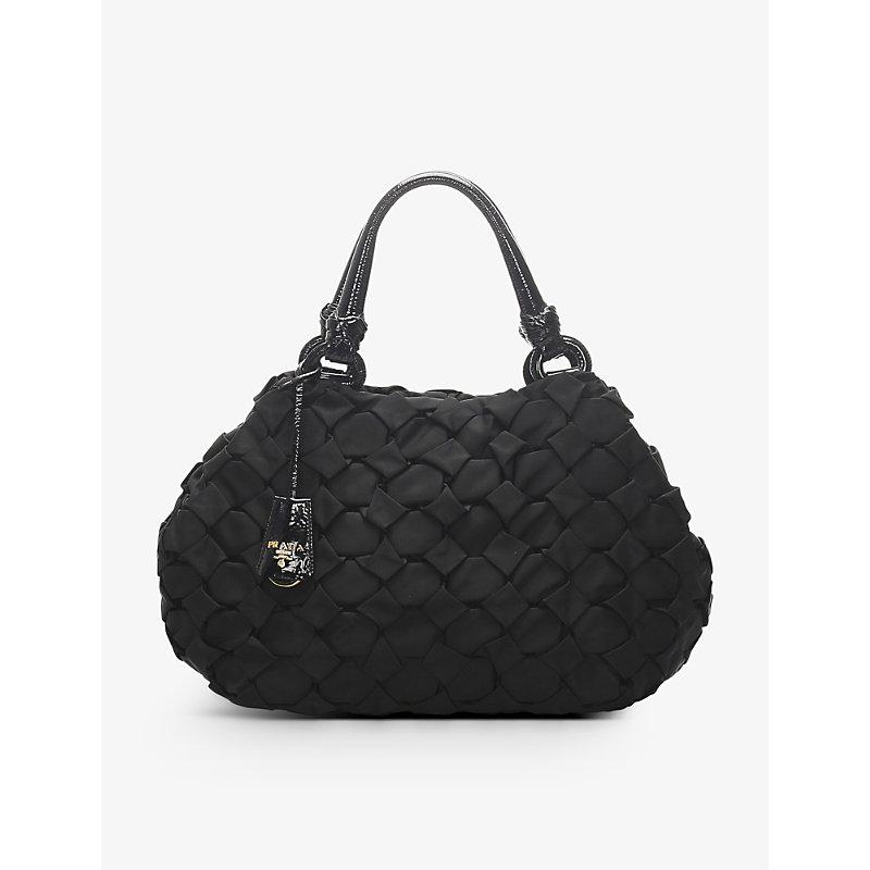 Pre-loved Prada woven nylon handbag