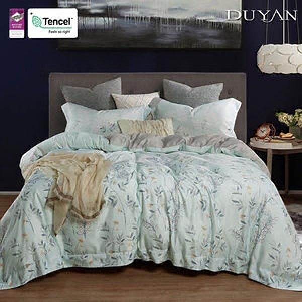 《DUYAN 竹漾》天絲雙人床包被套四件組-徐風青禾 台灣製