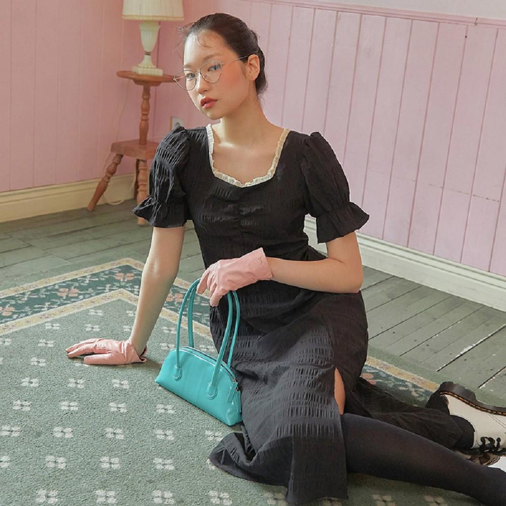 連身裙 蕾絲拼接開叉短袖洋裝PR0162-創翊韓都
