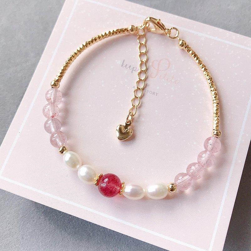 愛情運 天然珍珠 草莓晶 天然石 水晶手鍊 閨蜜 姊妹禮物