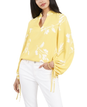 Vince Camuto Floral Whispers Tie-Sleeve Blouse