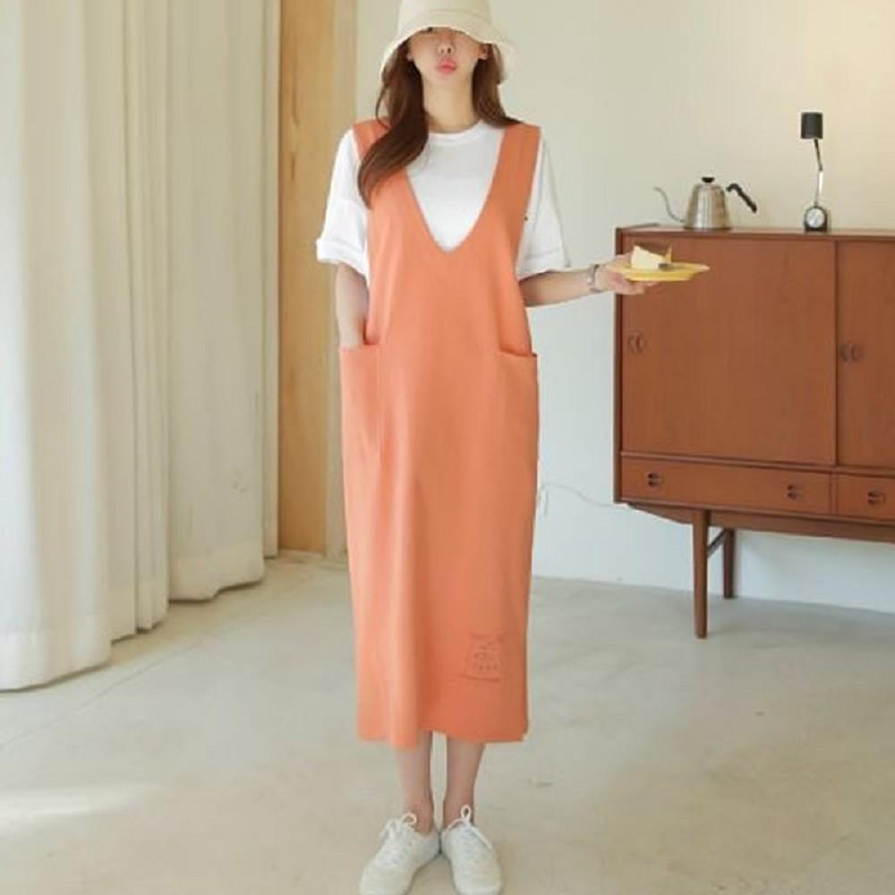連身裙 V領口袋素面無袖長洋裝Nzj-0385-創翊韓都