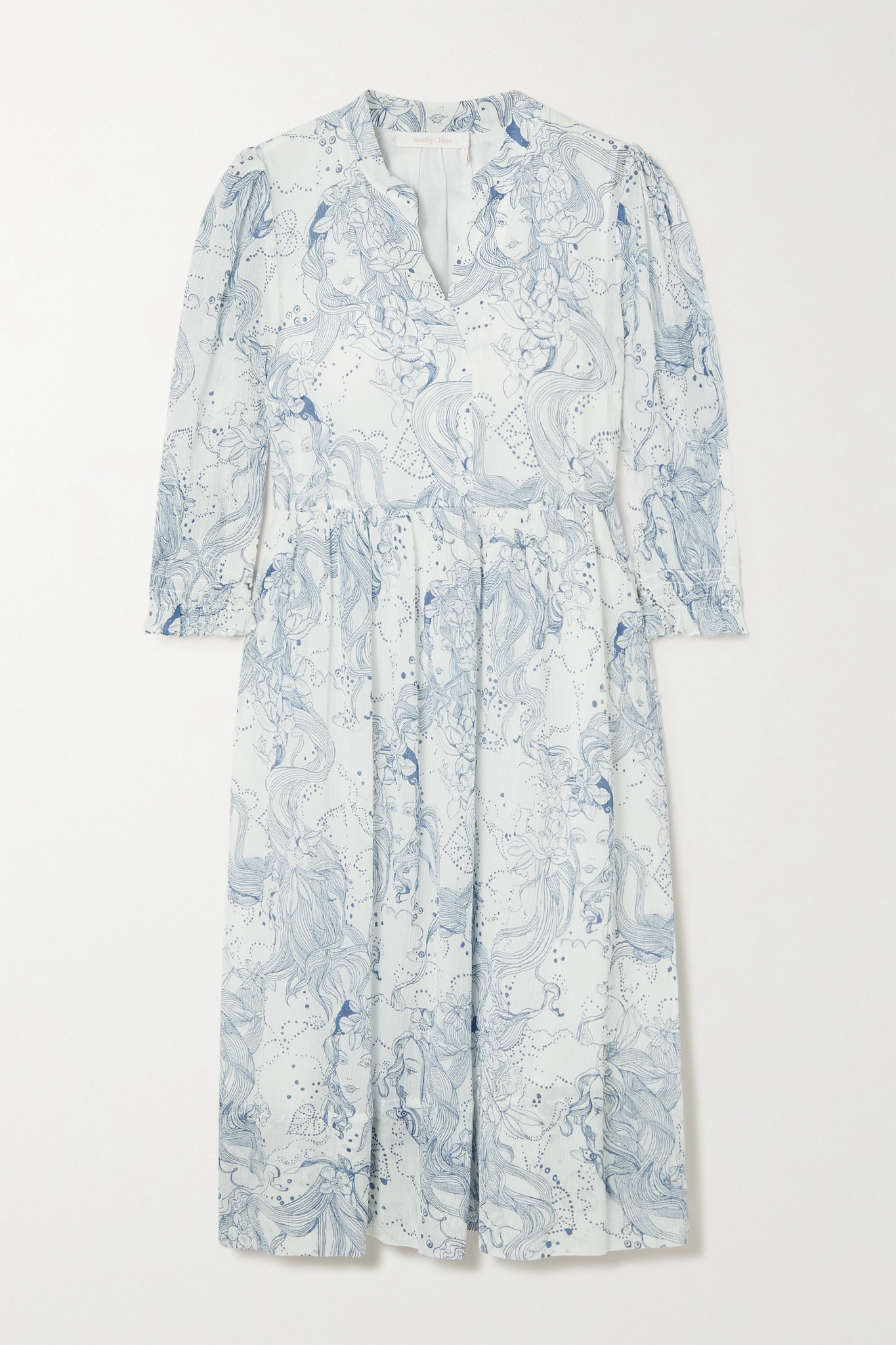 SEE BY CHLOÉ - Printed Cotton And Silk-blend Crepon Midi Dress - Blue - FR38