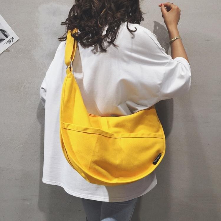 帆布大包包女包新款2021大容量側背斜挎包純色百搭ins休閒布袋包