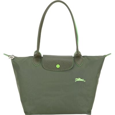 LONGCHAMP Le Pliage 小款 奔馬刺繡長提把折疊水餃包(冷杉綠)