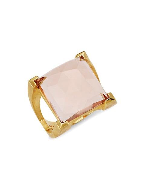 Icon 22K Goldplated & Morganite Plaza Ring
