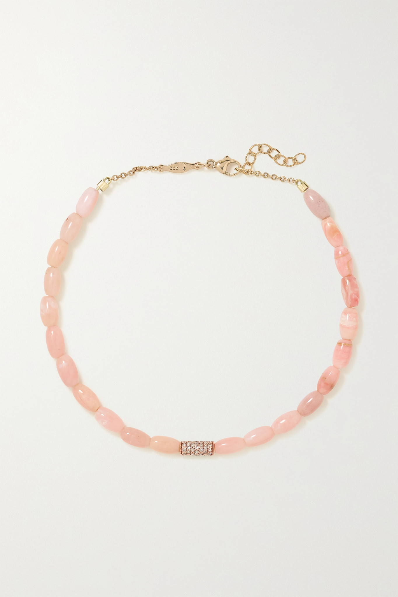 JACQUIE AICHE - 14-karat Rose Gold, Opal And Diamond Anklet - one size
