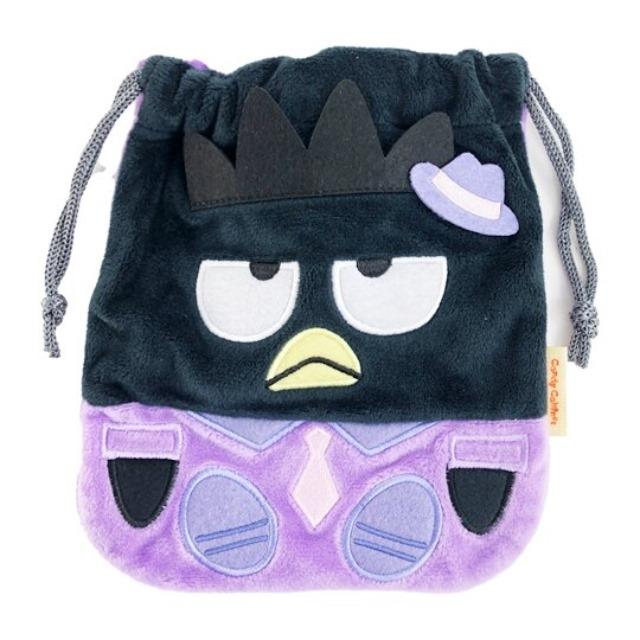 酷企鵝 絨毛束口袋 旅行收納袋 文具袋 小物袋 縮口袋