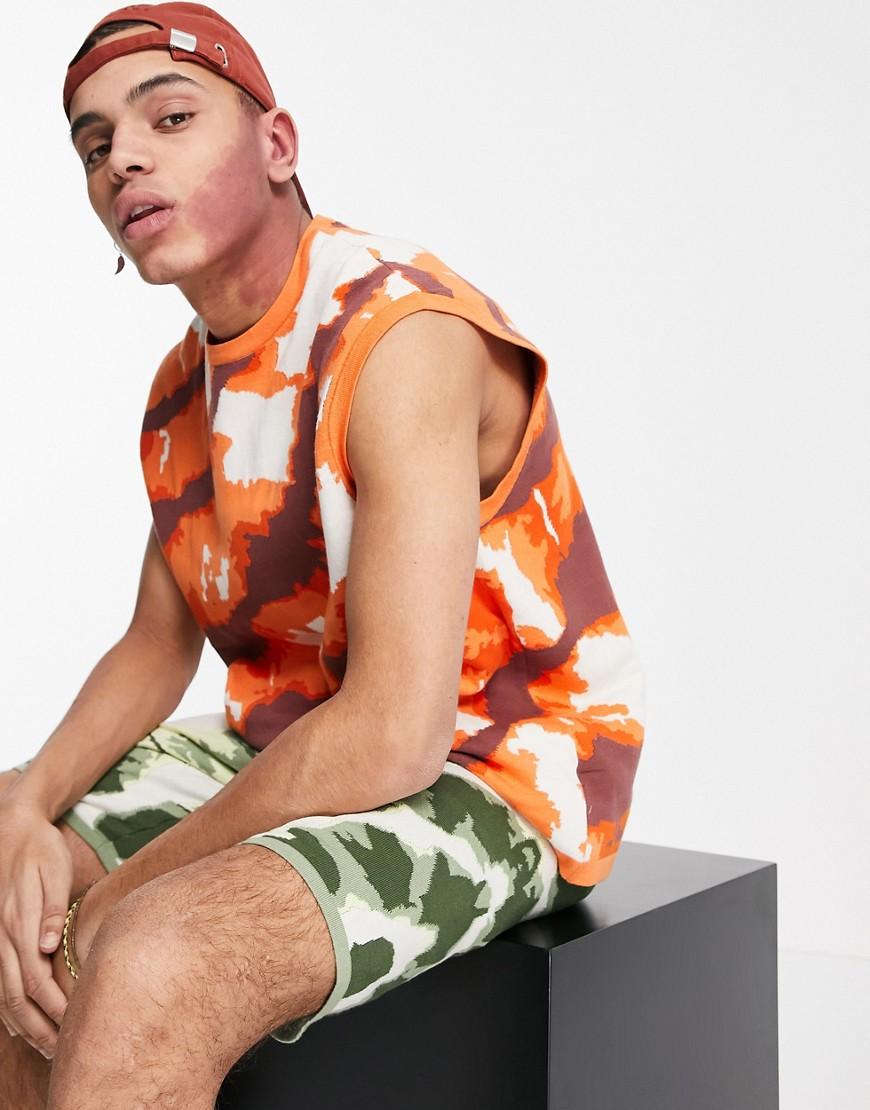 ASOS DESIGN knitted tie dye effect co-ord tank in orange