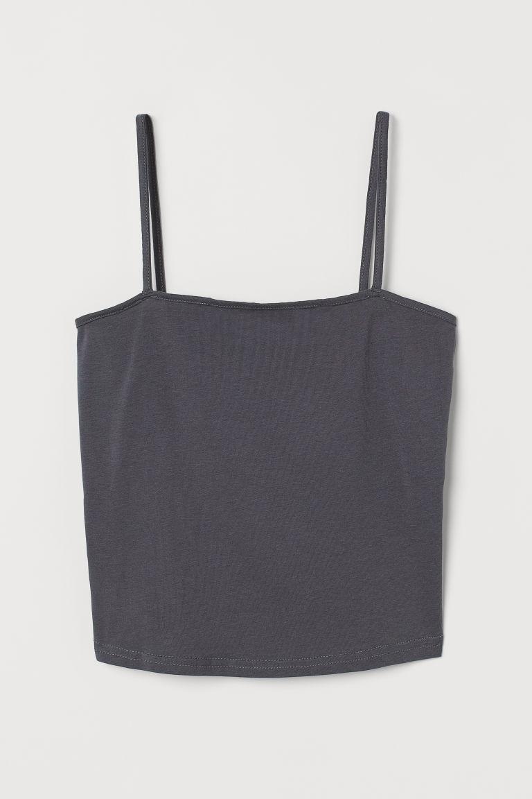 H & M - 短版平紋細肩帶上衣 - 灰色