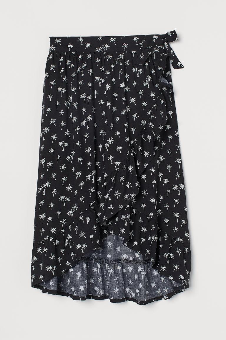 H & M - 荷葉邊交疊式及膝裙 - 黑色