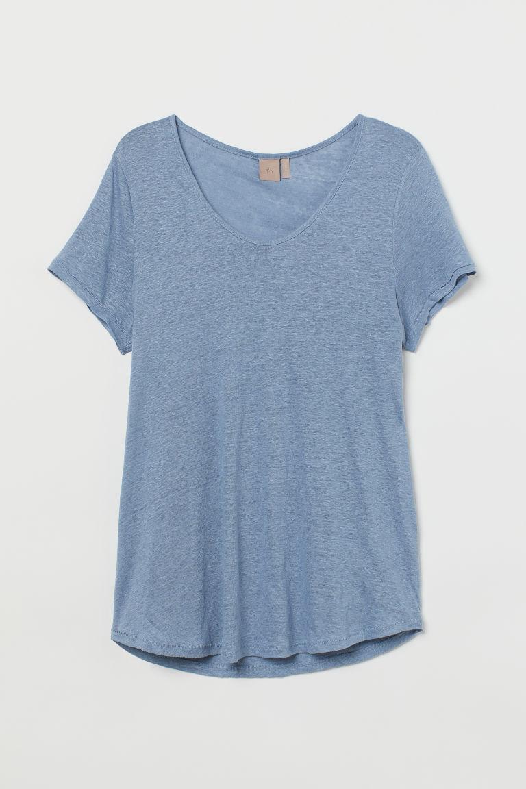 H & M - H & M+ 亞麻平紋T恤 - 藍色