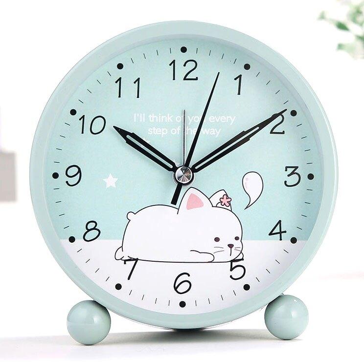 電子鬧鐘 學生用兒童電子夜光卡通可愛小鬧鐘簡約鬧鈴創意床頭靜音鐘表時鐘(母親節)