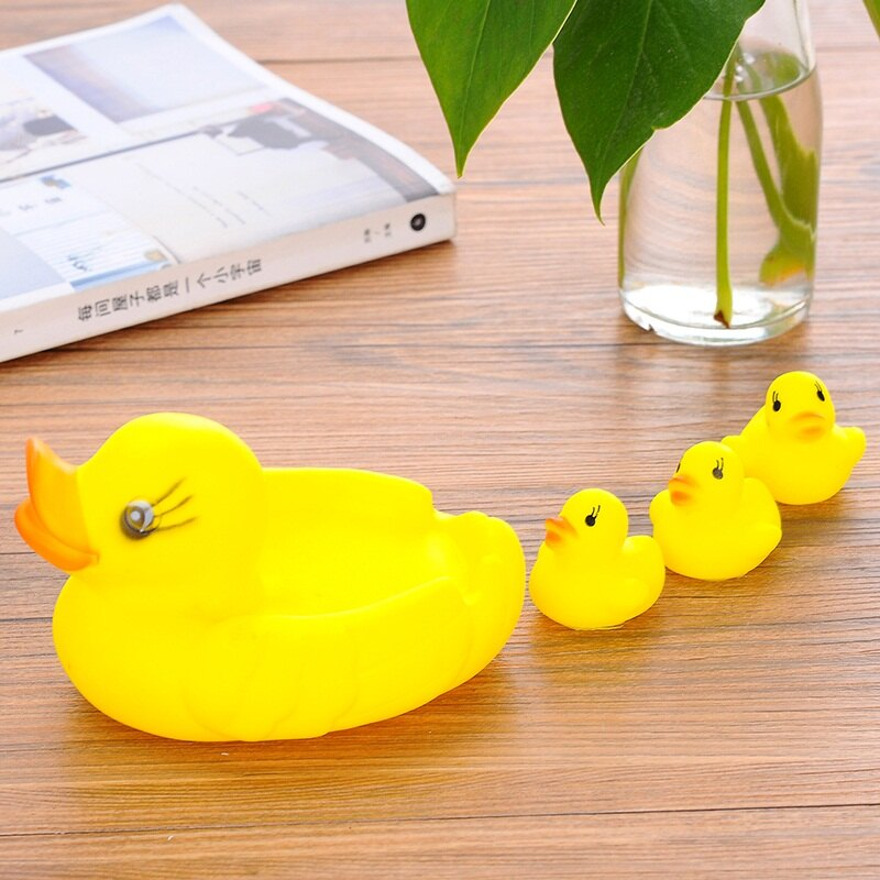 兒童洗澡游泳 黃鴨游泳鴨 寶寶玩具戲水鴨 散裝1大3小鴨子套裝