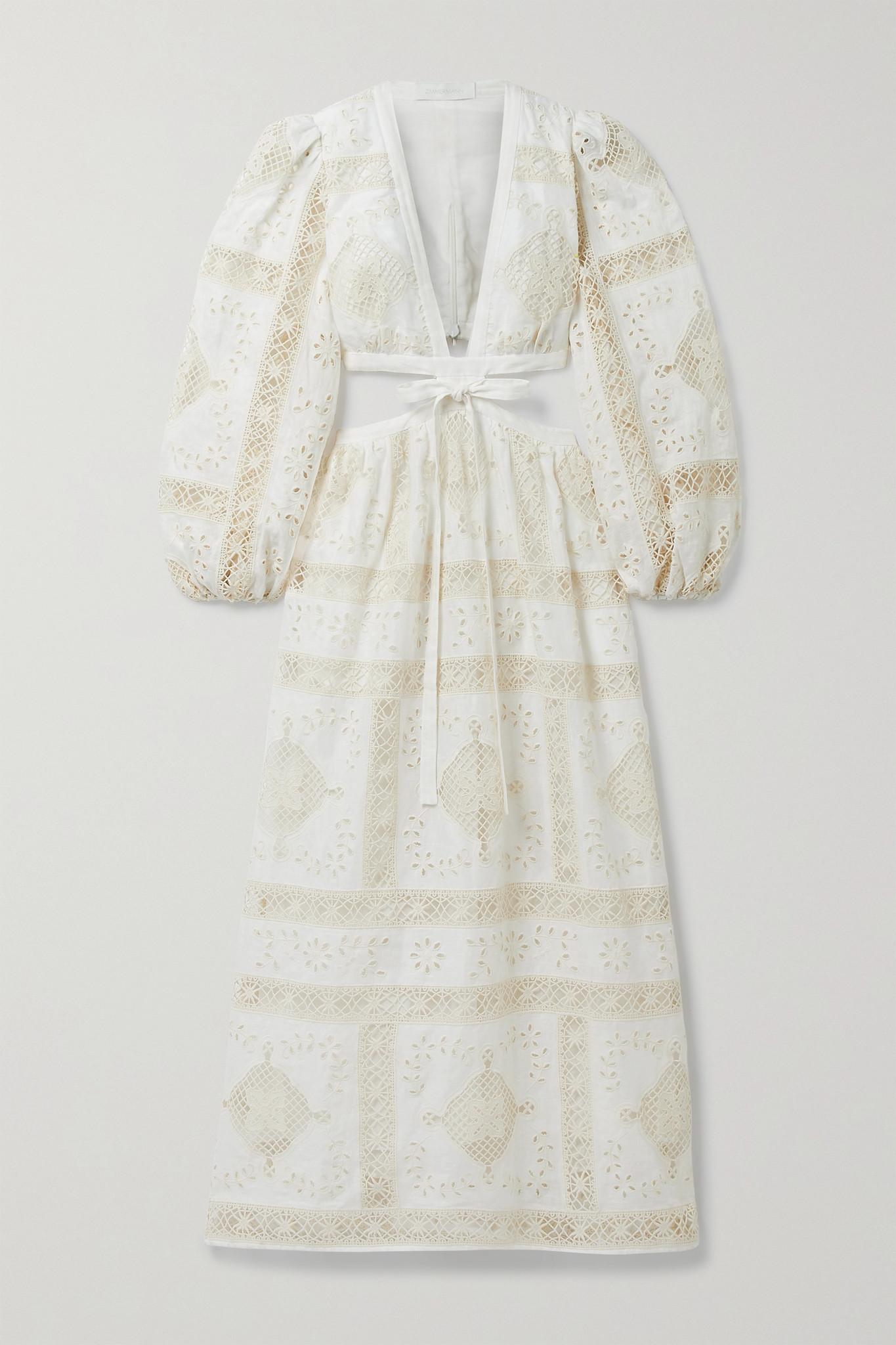 ZIMMERMANN - Aliane Cutout Tie-front Broderie Anglaise Cotton Midi Dress - Ivory - 3