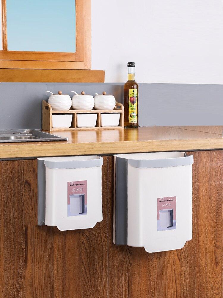 廚房垃圾桶掛式家用折疊拉圾筒壁掛分類收納垃圾籃廁所衛生間車載