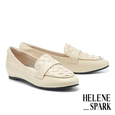 低跟鞋 HELENE SPARK 率性日常全真皮編織內增高樂福低跟鞋-白