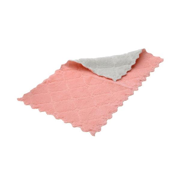 雙色抹布  廚房珊瑚絨擦拭巾 菱形印花抹布 洗碗布 清潔巾 擦桌巾 吸水性強不易掉毛