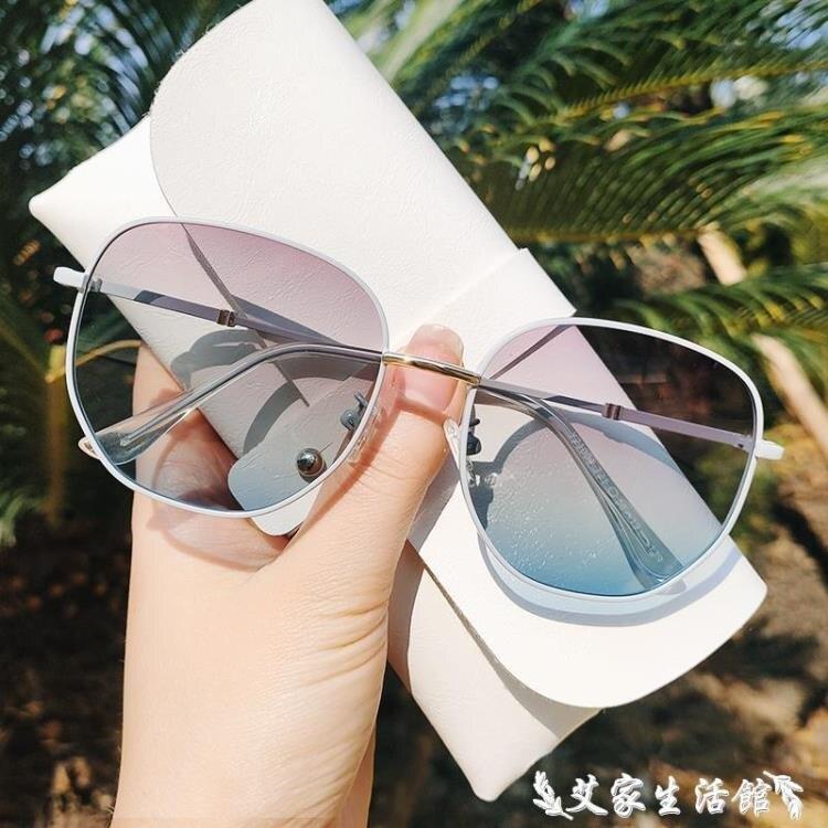 墨鏡 新款太陽鏡女防紫外線大臉顯瘦復古時尚潮墨鏡女司機專用偏光眼鏡-奇貨居精品