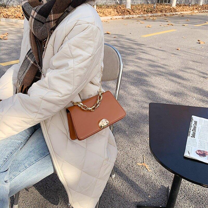 包包女2020冬季新款韓版時尚鏈條單肩斜挎包洋氣簡約手提小方包