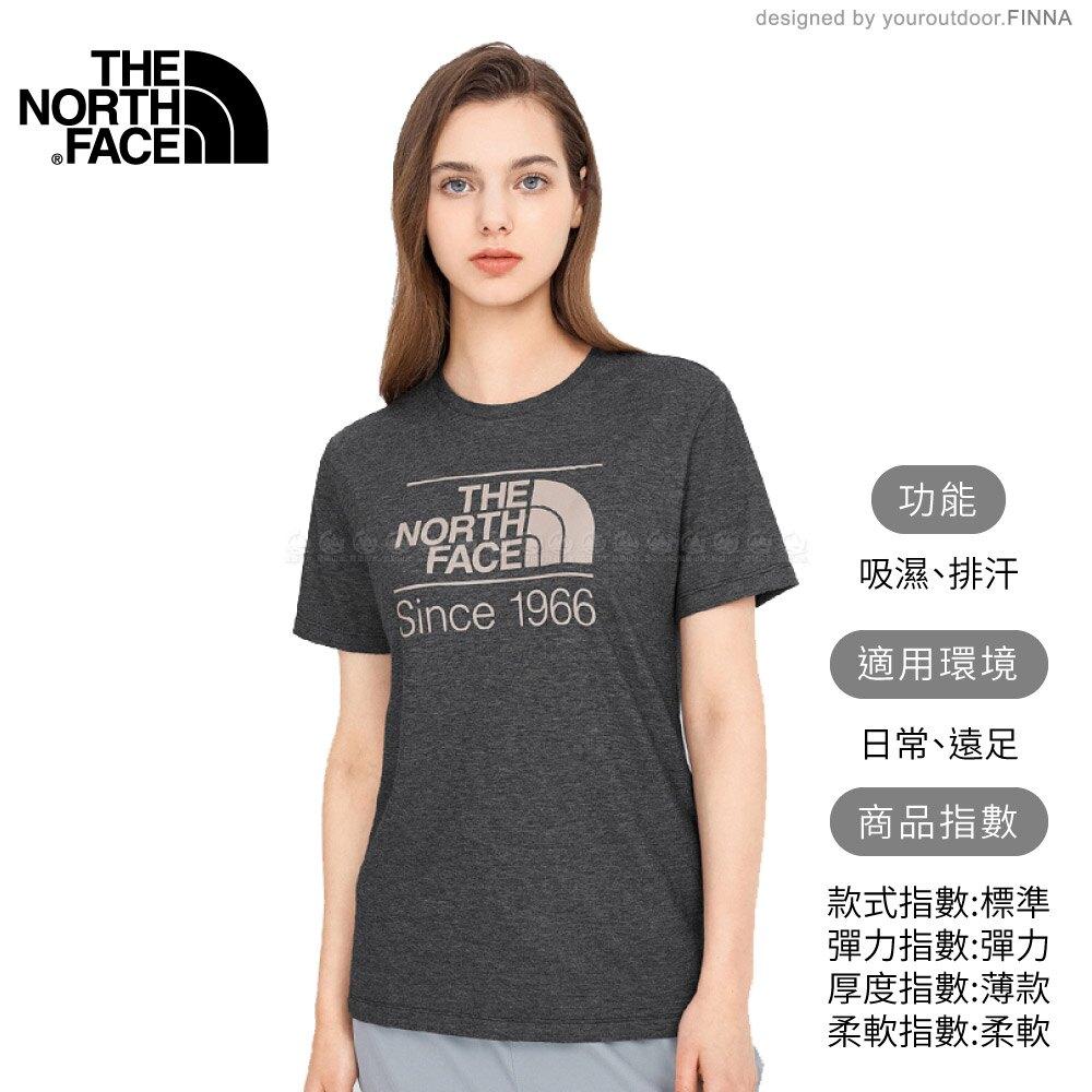 【The North Face 女 LOGO短袖上衣 AP《黑灰》】4UB7/短T/T恤/休閒短袖
