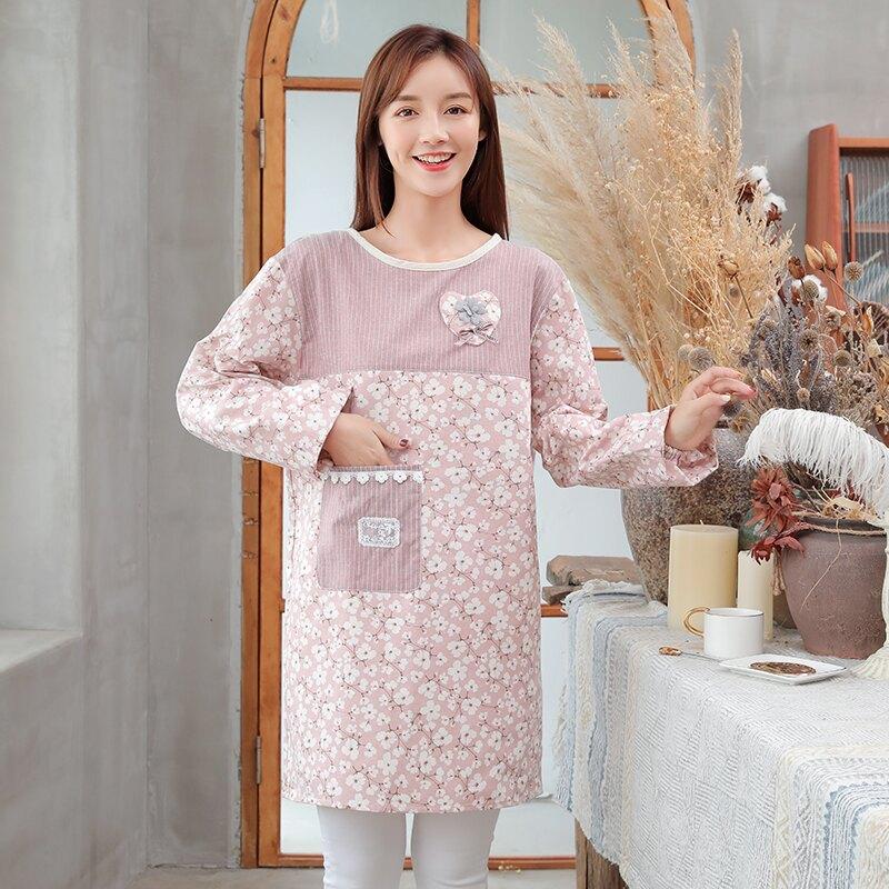 圍裙家用廚房防水防油長袖韓式做飯工作服可愛日系女時尚罩衣大人