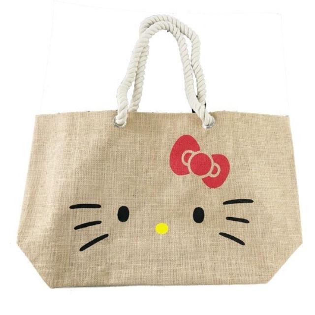 Hello Kitty 側背袋 橫式 麻布袋 編織袋 肩背袋 購物袋 海灘袋 (棕