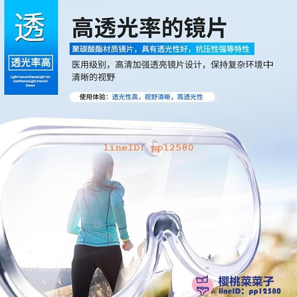 護目鏡防疫防護眼鏡醫護隔離面罩防飛沫全封閉防病毒透明罩【櫻桃菜菜子】