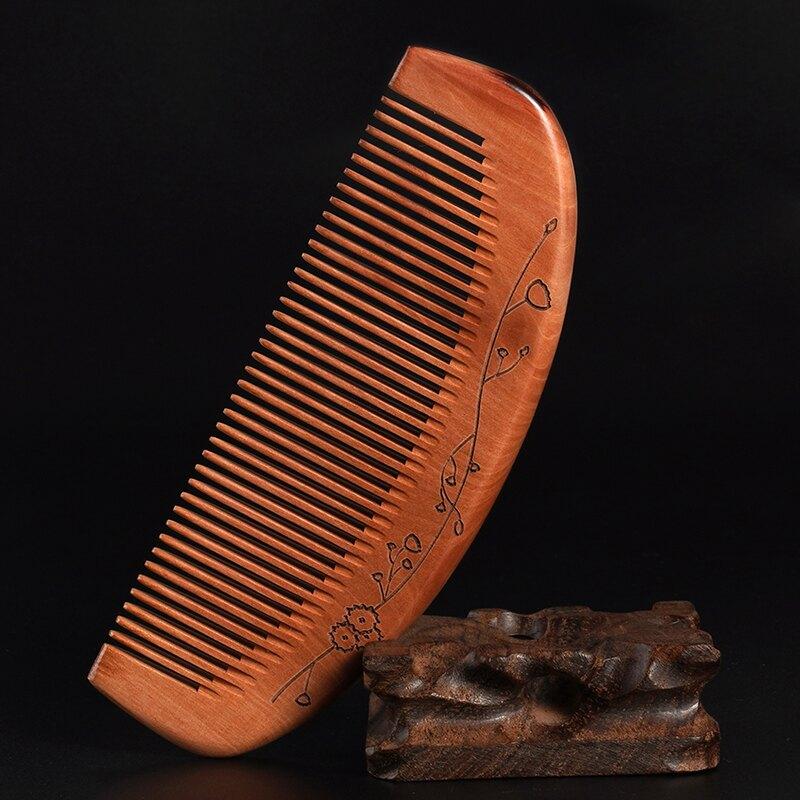 木梳子女家用老桃木梳子正品長發專用天然精品雕花實木便攜網紅款