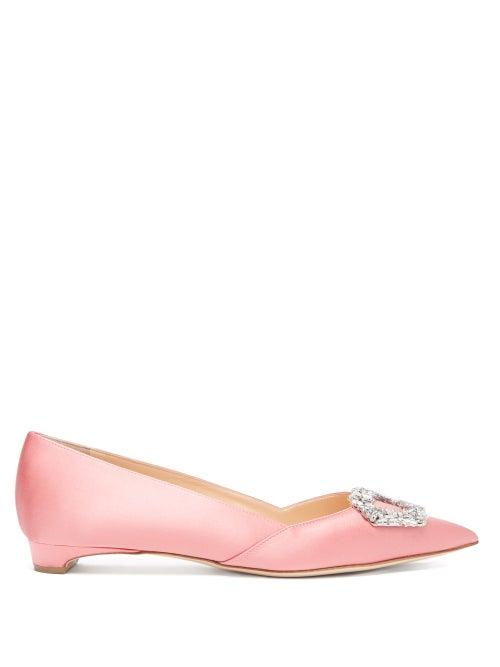 Rupert Sanderson - Aga Crystal-embellished Point-toe Satin Flats - Womens - Pink
