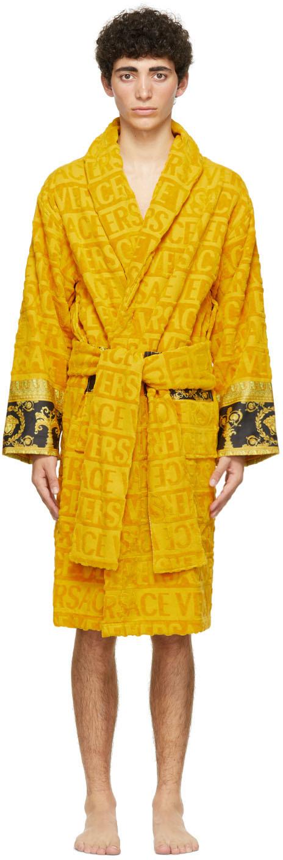 Versace 黄色 Barocco 浴袍