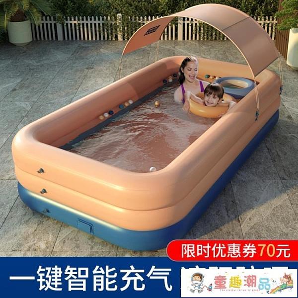 充氣泳池 超大號兒童充氣游泳池家用成人家庭洗澡池小孩寶寶加厚嬰兒游泳桶 童趣