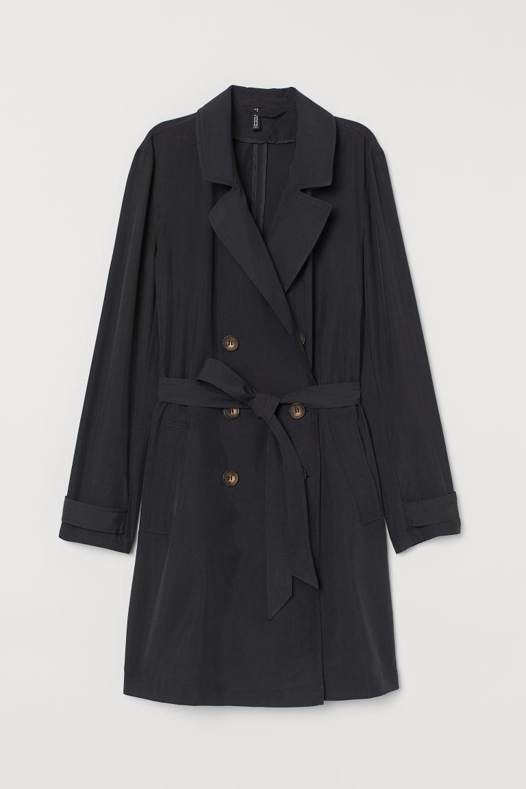H & M - 輕薄風衣 - 黑色