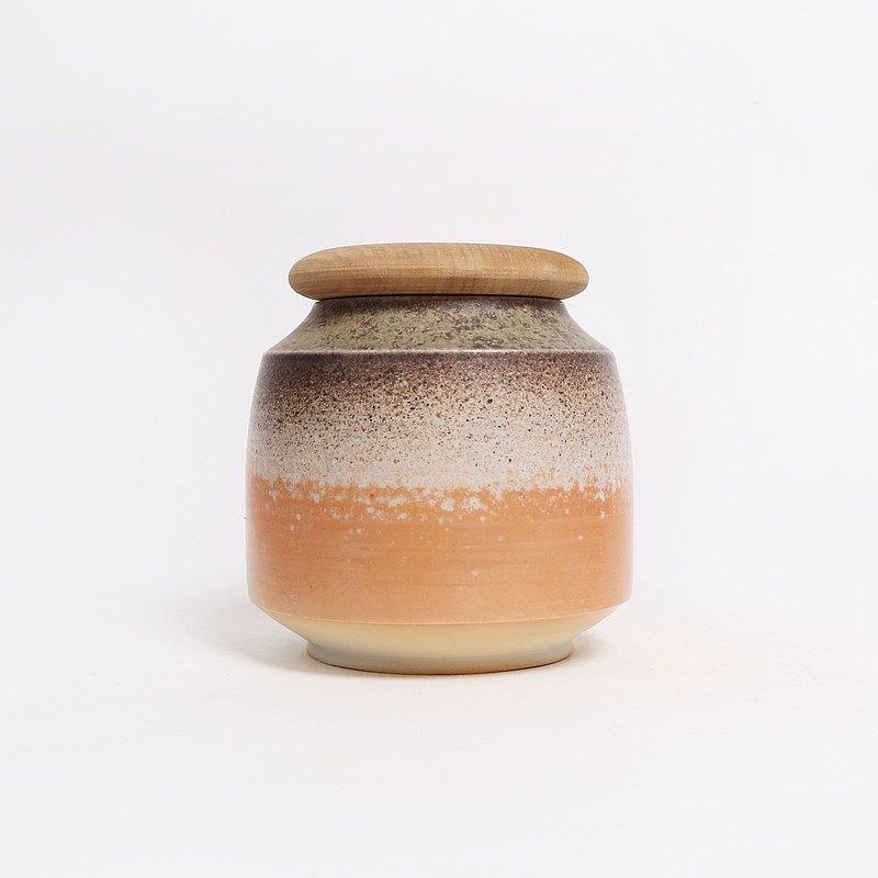 明芽窯 l 柴燒白瓷夕暉茶葉罐(含木蓋)