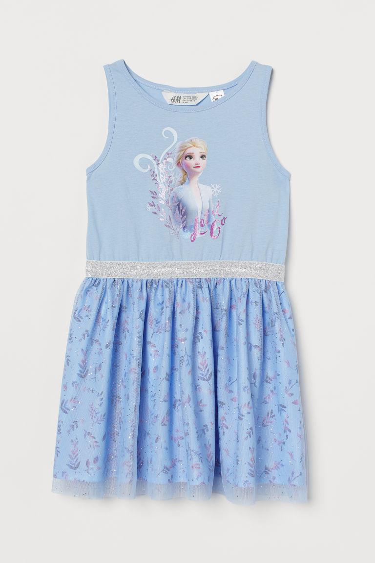 H & M - 薄紗裙平紋洋裝 - 藍色