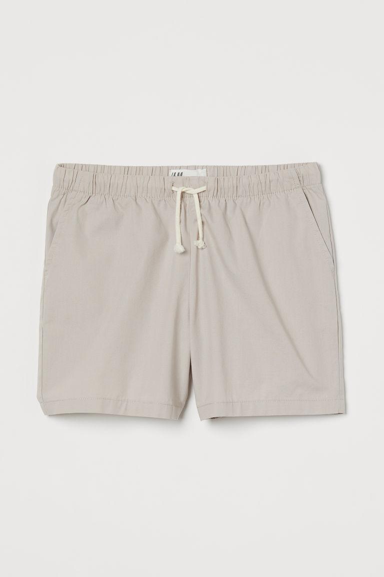 H & M - 府綢棉短褲 - 褐色