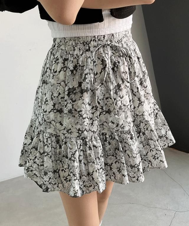 韓國空運 - Marine Flower Banding Flared Mini Skirt 裙子