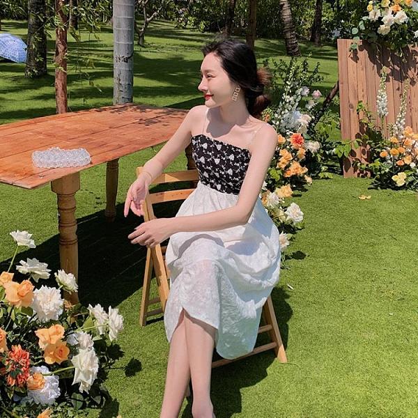 長洋裝 度假式洋裝春季法式復古吊帶連身裙中長款A高腰荷葉邊TCF22紅粉佳人