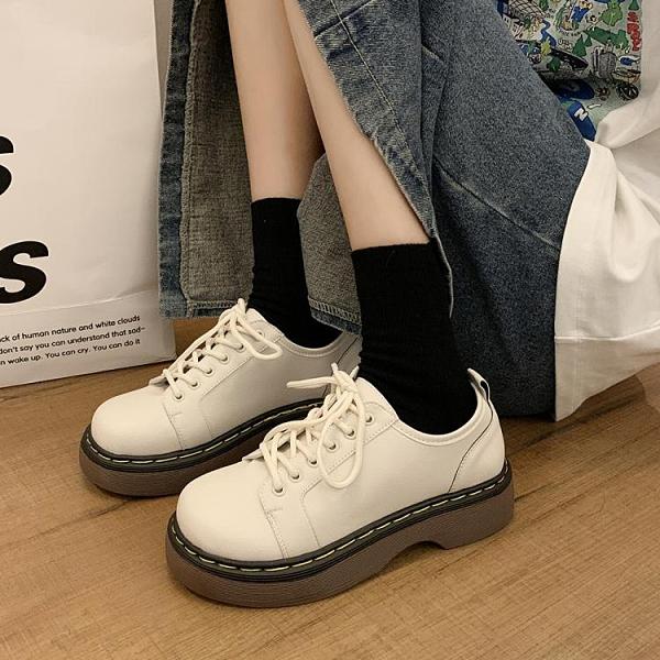 2021春季新款百搭英倫風小皮鞋女復古繫帶低幫學院風舒適平底單鞋 韓國時尚 618