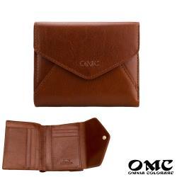 【OMC】義大利植鞣革信封式雙面牛皮短夾(咖啡)