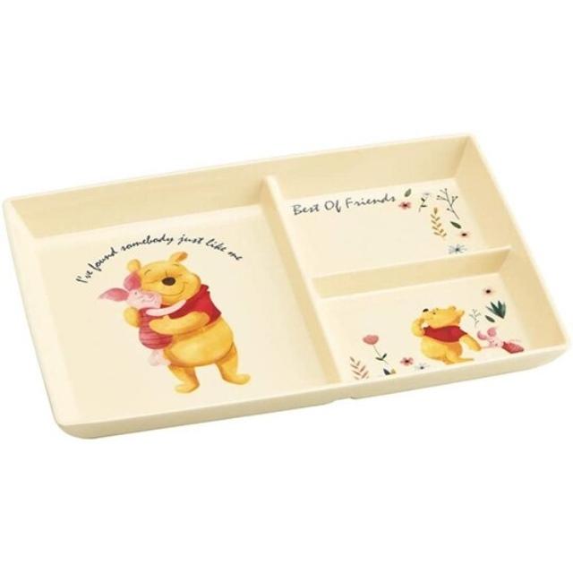 小熊維尼 方形三格美耐皿盤 三格餐盤 兒童餐盤 塑膠盤 (黃 抱抱)