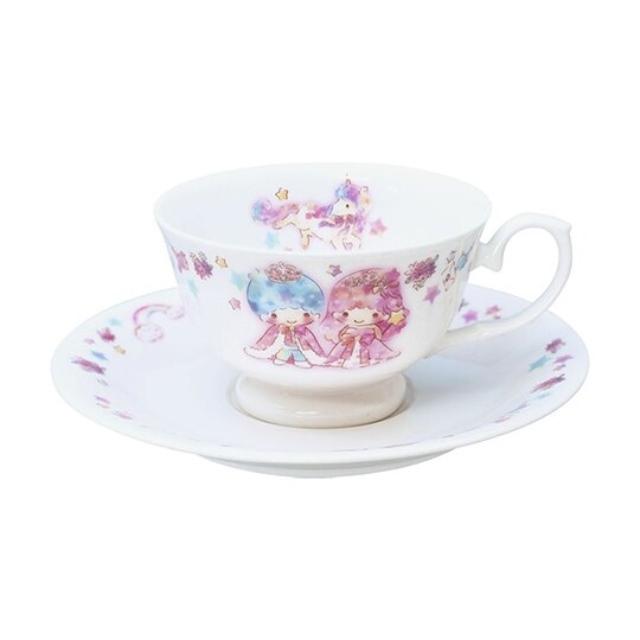 雙子星 日製 陶瓷杯盤組 咖啡杯盤 點心盤 金正陶器 (粉白 45週年)