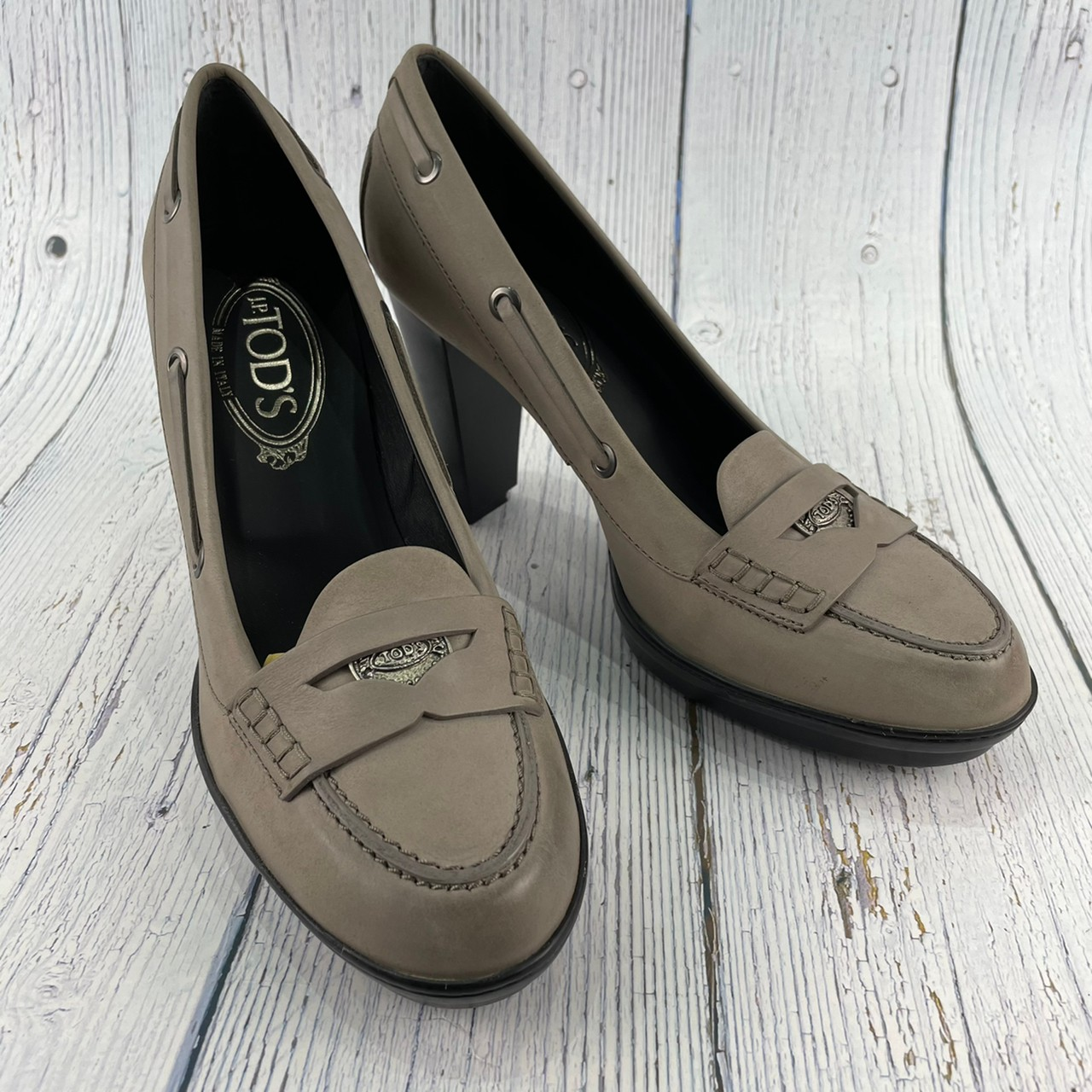BRAND楓月 TOD'S 淺咖啡色 高跟鞋 樂福鞋 經典LOGO 皮革 厚底 女鞋 #38.5